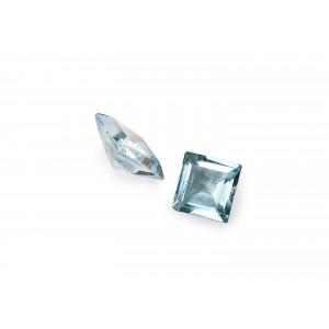 Blue Topaz Cut Stone Square, Light, 7 mm