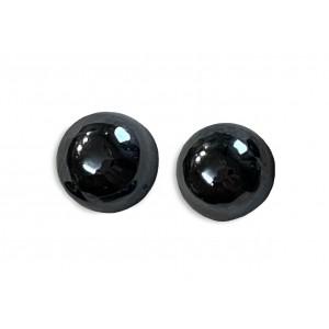 Hematite Cabs, Round, 10 mm
