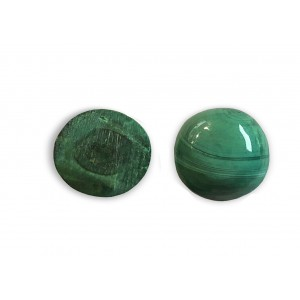 Malachite Cabs, Round, 6 mm