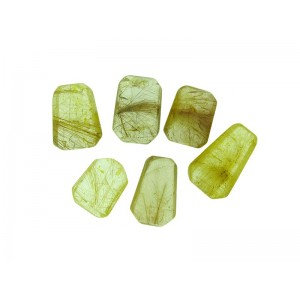 Golden Rutilated Quartz Large Bevelled Square/Trapezium Stones, Undrilled, Mixed Sizes (27mm-36mm)