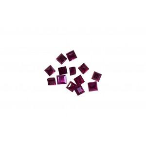 Ruby Cut Stone, Square, 3 mm