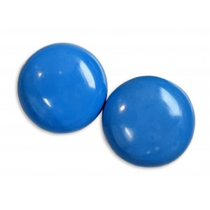 Turquoise Pressed Cabs, Round, 20 mm