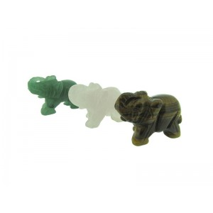 Gemstone Elephant Statue - (Rose Quartz / Aventurine / Tiger's Eye)