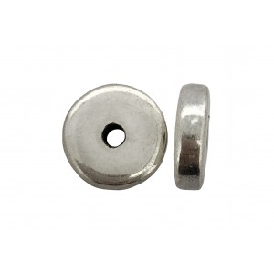 Sterling Silver 925 Ethnic Bead 2.28gr D 14mm, Thickness 4mm, Hole 1.89mm Silver Ethnic Beads