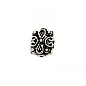 Sterling Silver 925 Ethnic Bead 2.28gr 9.6 x 11.5mm, Thickness 6.44mm