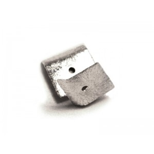 Sterling Silver 925 Ethnic Square Flat Bead 0.41gr 10.3 x 10.7mm, Thickness 0.46mm