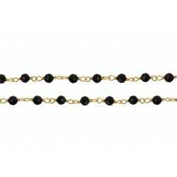 Silver chain 925 Gold Plated with Spinnel BK faceted stone