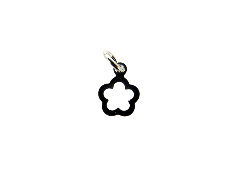 Sterling Silver 9625 outline small Flower Charm 6.8mm