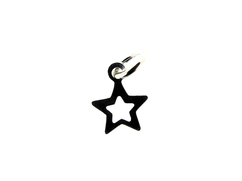 Sterling Silver 925 outline small Star Charm 6.6mm