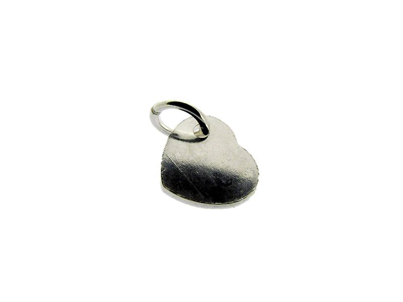 Sterling Silver 925 small flat Heart Charm 7.8mm x 0.8mm