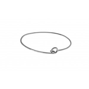 Sterling Silver 925 Simple Oval Bangle With Hook Fitting
