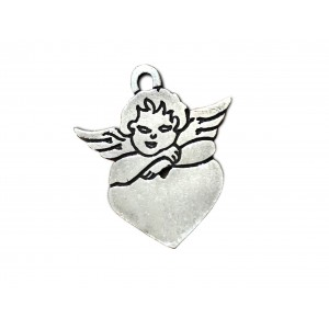 925 SILVER LARGE CUPID ON HEART PENDANT 9.6 X 8.1 X 0.3 MM