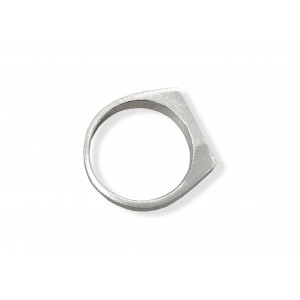 S925 SILVER NARROW RECTANGLE SIGNET RING - SIZE Q / 8