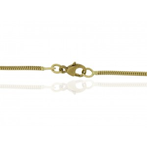 "9K YELLOW READY MADE SNAKE CHAIN, 1.4mm WIDE, 16"" w/ TRIGGER CLASP"