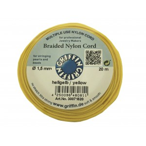 BRAIDED NYLON CORD, YELLOW, 1.5mm, 20m SPOOL