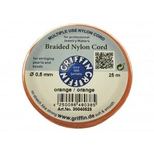 BRAIDED NYLON CORD, ORANGE, 0.5mm, 25m SPOOL