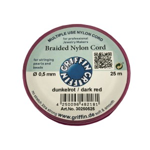 BRAIDED NYLON CORD, DARK RED, 0.5mm, 25m SPOOL