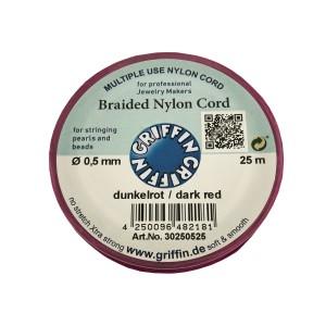 BRAIDED NYLON CORD, DARK RED, 0.5mm, 25m SPOOL