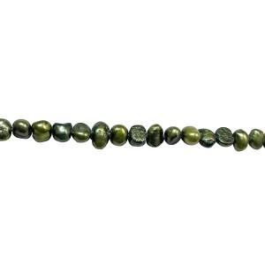 GREEN (IRREGULAR) FLAT PEARLS - 6MM