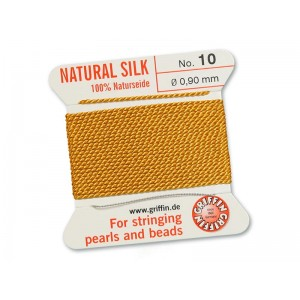 GRIFFIN Bead Silk Cord AMBER, 2 meters, size 10