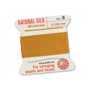 GRIFFIN Bead Silk Cord AMBER, 2 meters, size 08
