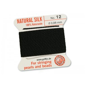 GRIFFIN Bead Silk Cord BLACK, 2 meters, size 12