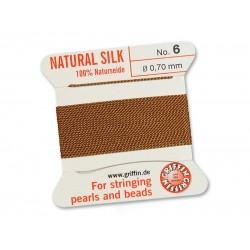 GRIFFIN Bead Silk Cord CORNELIAN, 2 meters, size 06