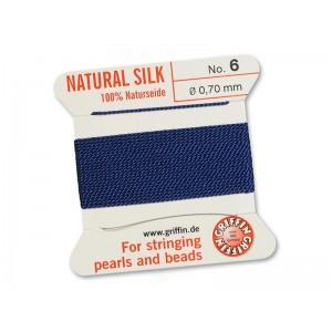 GRIFFIN Bead Silk Cord DARK BLUE, 2 meters, Size 06