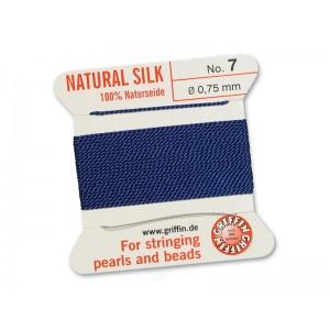 GRIFFIN Bead Silk Cord DARK BLUE, 2 meters, Size 07