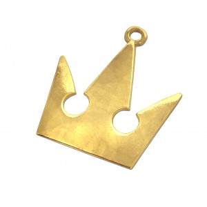 5% 14K GOLD PLATED EXTRA LARGE FLAT CROWN PENDANT W/RING 36 X 32 X 1.5MM