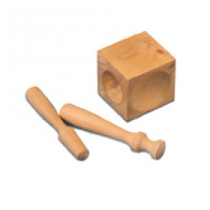 WOODEN DOMING BLOCK WITH TWO PUNCHES