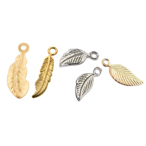 Feather and Leave Charms