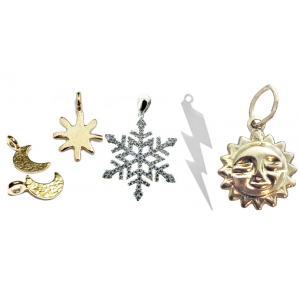 Weather Charms- sun, lightning, moon & snowflake