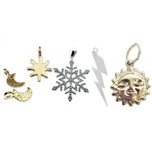 Weather Charms- sun, lightning, moon & snowflake