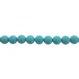 Turquoise Pressed Round Beads, 14 mm