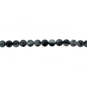 Rutile Quartz Black Round Beads, 10 mm
