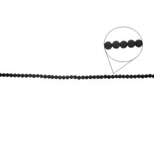 Lava Black Round Beads, 4 mm