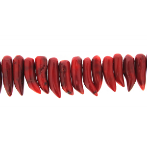 Coral Sea Bamboo Dyed Horn Shape Beads, Red
