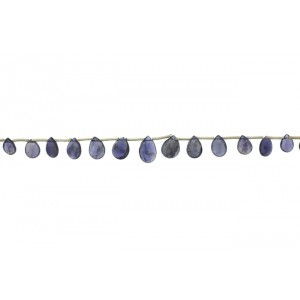 Iolite Badamche / Drops Faceted 9'' Beads