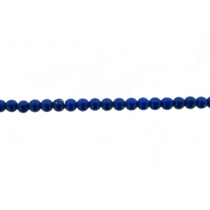 Lapis Pressed Round Beads, 4 mm