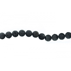 Lava Black Round rough polish  Beads 15mm-16mm