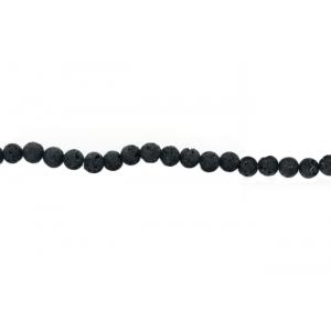 Lava Black Round Rough polish Beads, 8 mm