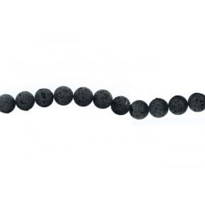 Lava Black Round rough polish Beads,  12 mm
