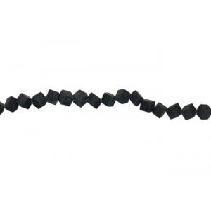 Lava Black Damru Beads, 8 mm