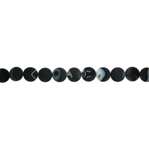 Onyx Black Matt Coin Beads, 30 mm