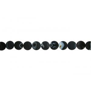 Onyx Black Matt Coin Beads, 30 mm