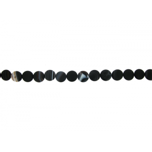 Onyx Black Matt Coins Beads, 23 mm