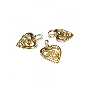 5% 14K Gold Plated Brass Heart 9.7mm x 13.2mm Gold Plated Charms, Pendants