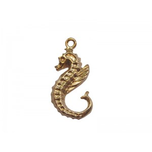 Deep Gold Heavy Plated Brass Large Seahorse Pendant