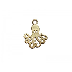 Deep Gold Heavy Plated Brass Octopus Charm